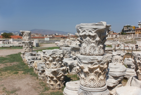 Korinthische kapitelen in Agora, Smirna Izmir Turkije