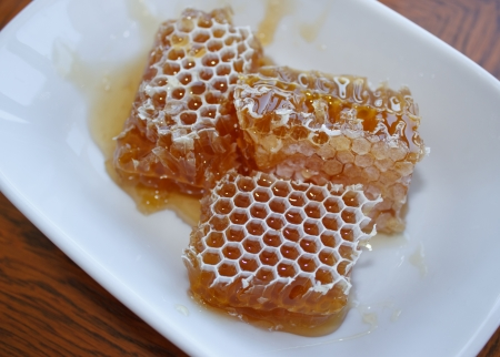 Honey in honeycomb in plate on wooden table photo