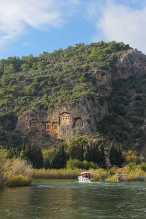 View from the rock tombs of  Dalyan and river, Turkey,  Mugla photo