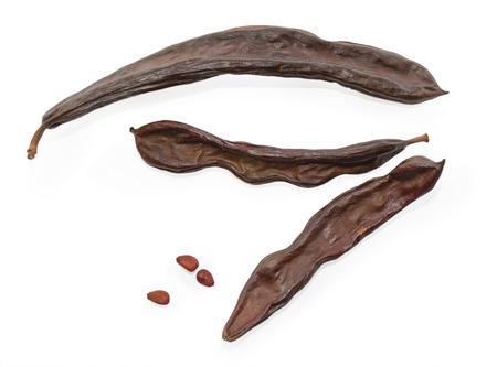 Getrocknete Johannisbrotschoten mit Samen auf isoliert auf weißem Hintergrund Standard-Bild - 26058271