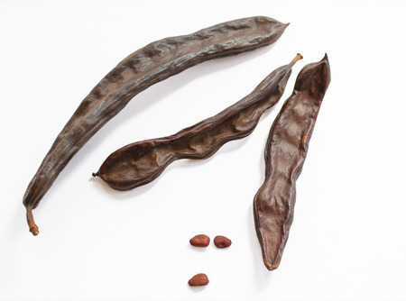 Dried carob pods with seeds on white background