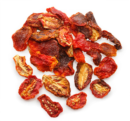 sundried: Sun-dried tomatoes isolated on white background Stock Photo