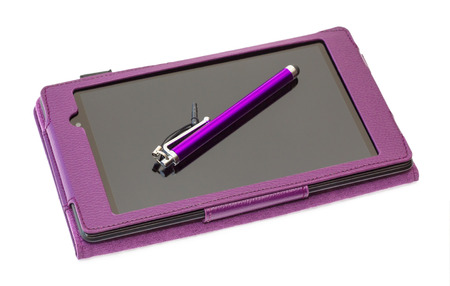 stilus: Tablet  computer with stilus on screen in purple cover isolated on a white background