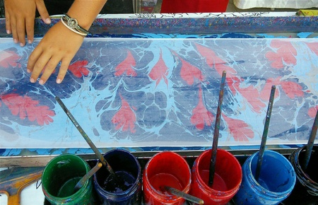 print: Traditional Turkish painting on water, ebru with print on textile Stock Photo