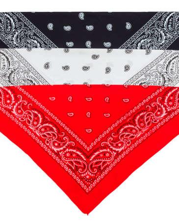 Folded red, white and black bandannas isolated on white background
