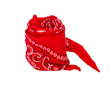 twisted red bandana removed from hand isolaten on white background