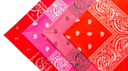 vermeil: Folded group of  varicolored four bandannas isolated on white background Stock Photo