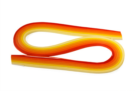 quilling: Set of multicolored paper orange range for quilling on white background
