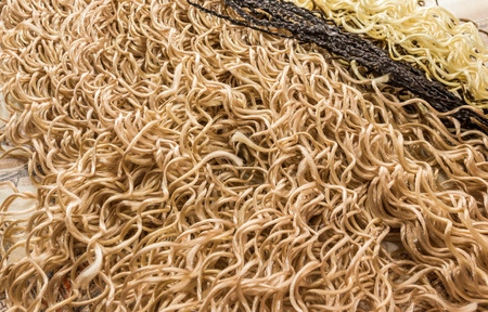 elongation: kanekalon material for building African braids on table Stock Photo