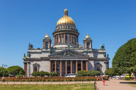 isaac: SAINT-PETERSBURG, RUSSIA - JULY 6, 2015: St. Isaac Cathedral on St. Isaac Square with wires in the picture