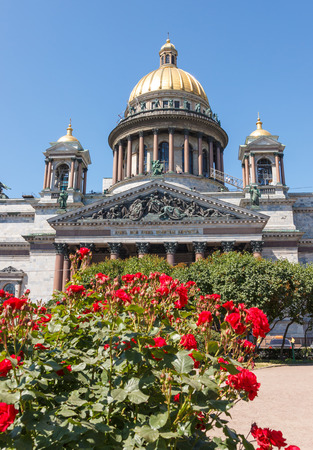 isaac: SAINT-PETERSBURG, RUSSIA - JULY 6, 2015: St. Isaac  Cathedral on St. Isaac Square with wires and flowers in the picture