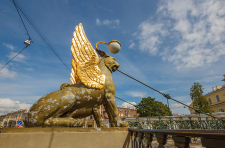 SAINT-PETERSBURG, RUSSIA - JULY 16, 2015: Griffins on Bank bridge on the canal Griboyedov