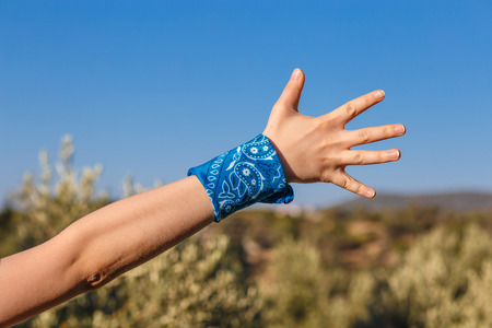 rudeness: female hand with a blue bandana with palm hand on nature background (bunch of fives) Stock Photo
