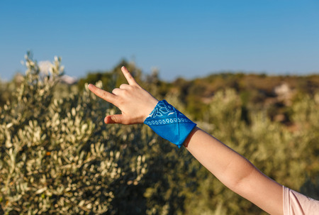 female hand with blue bandana showing rock-n-roll sign on nature background Stock Photo