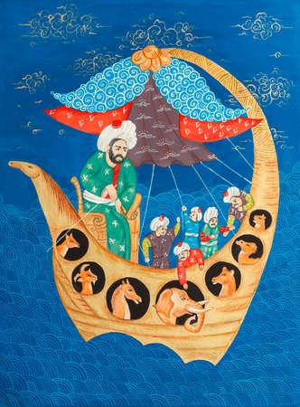 Kopie van oude Turkse (ottoman) miniaturen van de middeleeuwen Noah's Ark. Gouache kleuren, karton
