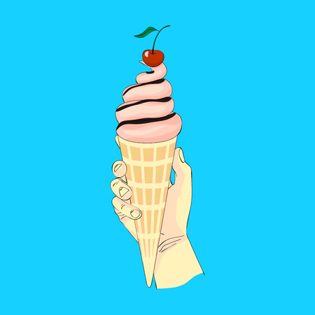 Ice cream in hand illustration. Illustration