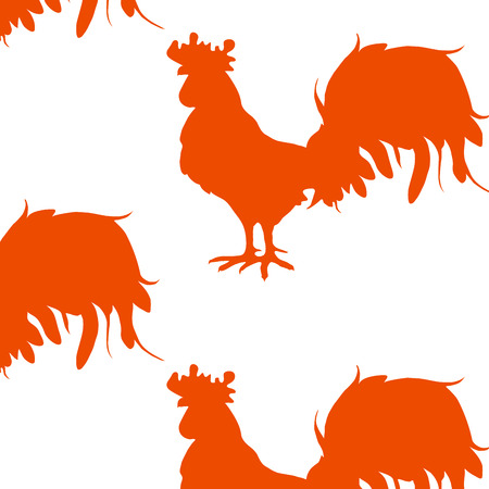 The pattern of red roosters. Çizim