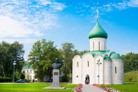 Transfiguration Cathedral and Monument to Alexander Nevsky in Kremlin, Pereslavl-Zalessky, Golden Ring of Russia Stock Photo