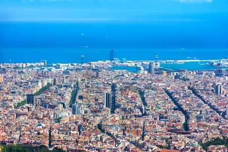 Panoramic view of Barcelona from Tibidabo, Spain