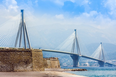 Suspension bridge crossing Corinth Gulf strait, Greece. Is the worlds second longest cable-stayed bridge Stock Photo