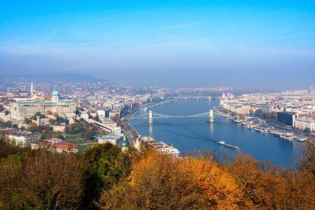 Embankment of the Danube from Gellert Hill. Budapest, Hungary