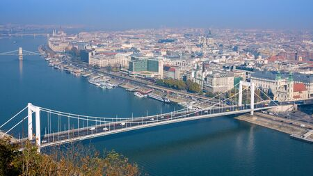 Embankment of the Danube from Gellert Hill. Budapest, Hungary