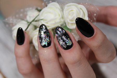 Black Long Nails With Silver Shiny Design Stock Photo Picture And