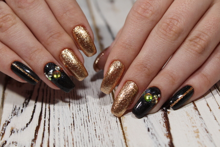 beautiful long nails on a trendy texture background