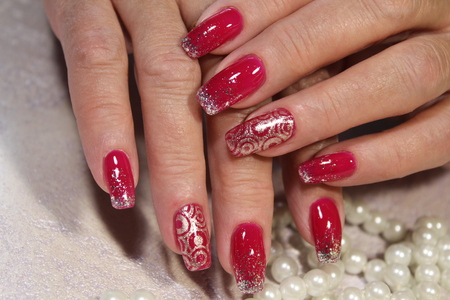 fashionable pink manicure gel varnish with marble design