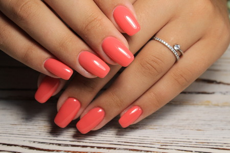 beautiful long nails on a white background Banco de Imagens