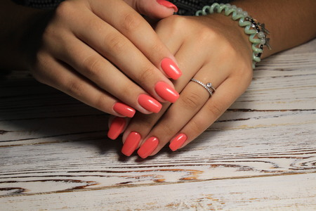 fashion manicure nails on white textural background
