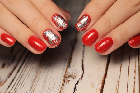 Trendy manicure design on a beautiful textural background