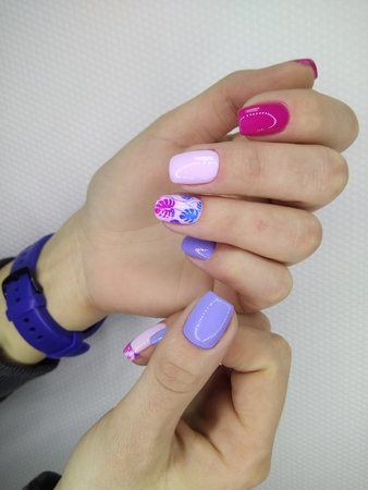 glamorous blue manicure Standard-Bild