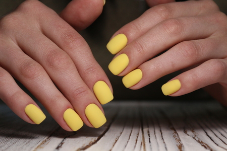 beautiful female hands with a fashionable manicure on the background Reklamní fotografie
