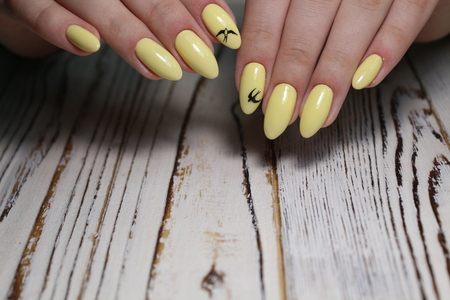 Fashionable yellow manicure on beautiful female hands Banque d'images