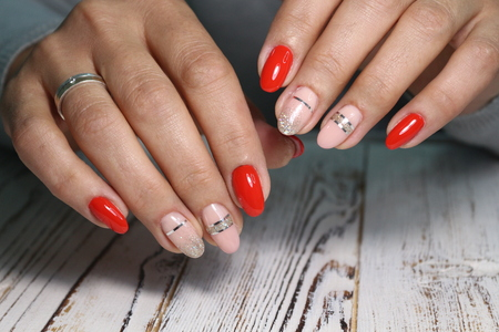 glamorous beautiful manicure on a trendy texture background
