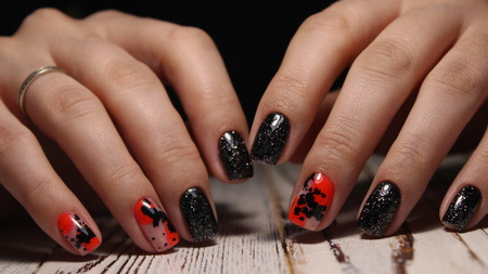 glamorous manicure design on trendy textural background