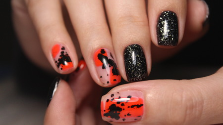 stylish design of manicure on long beautiful nails