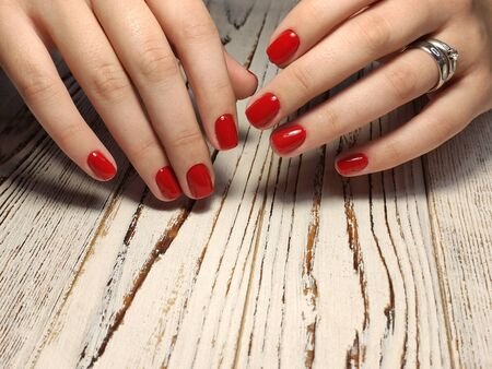 Design sexy pink manicure on long beautiful nails 写真素材 - 133674968