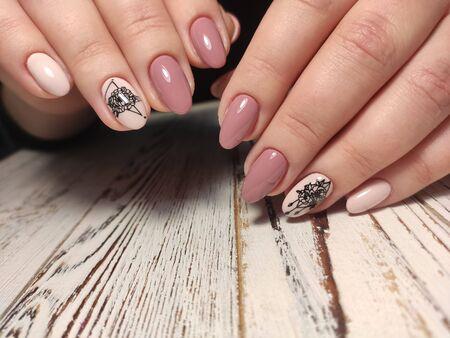 glamorous manicure of nails on beautiful female hands Imagens