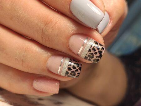 stylish design of manicure on long beautiful nails