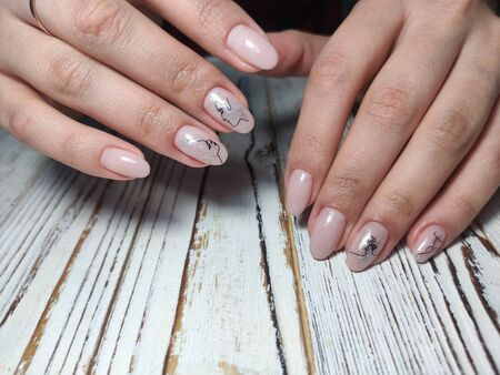 Design sexy pink manicure on long beautiful nails Archivio Fotografico