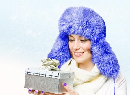 beautiful woman in a warm hat