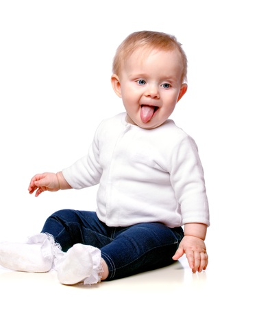 portrait of a young child, his tongue hanging out Stock Photo - 17457017