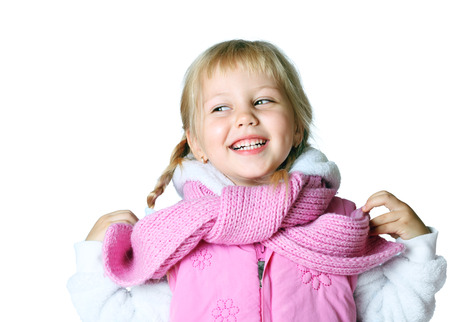 portrait of a little girl wearing a scarf, christmas, winter, frost Stock Photo