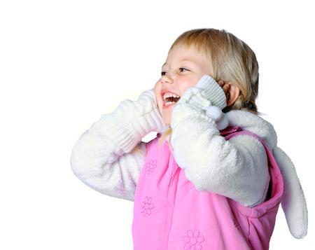 little girl wearing a warm winter, christmas, new year
