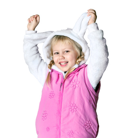 little girl dressed in a bunny suit, winter, christmas, cold