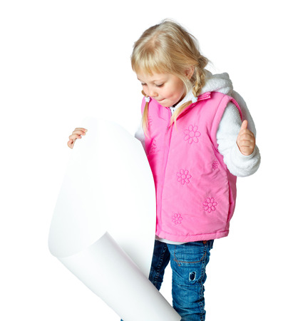portrait of a little girl holding a poster, sale, discount, sale