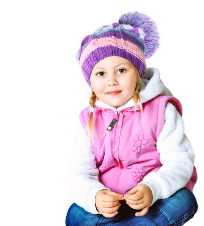 portrait of a little girl dressed in a jacket and hat, winter, frost, Christmas