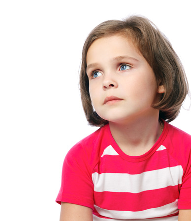 portrait of a sad girl o in red shirt on a white background